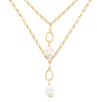 Yellow gold double layered pearl necklace