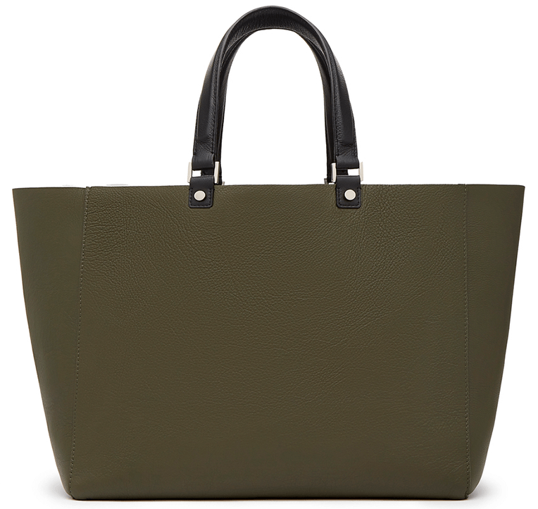 Army green bag with black handles
