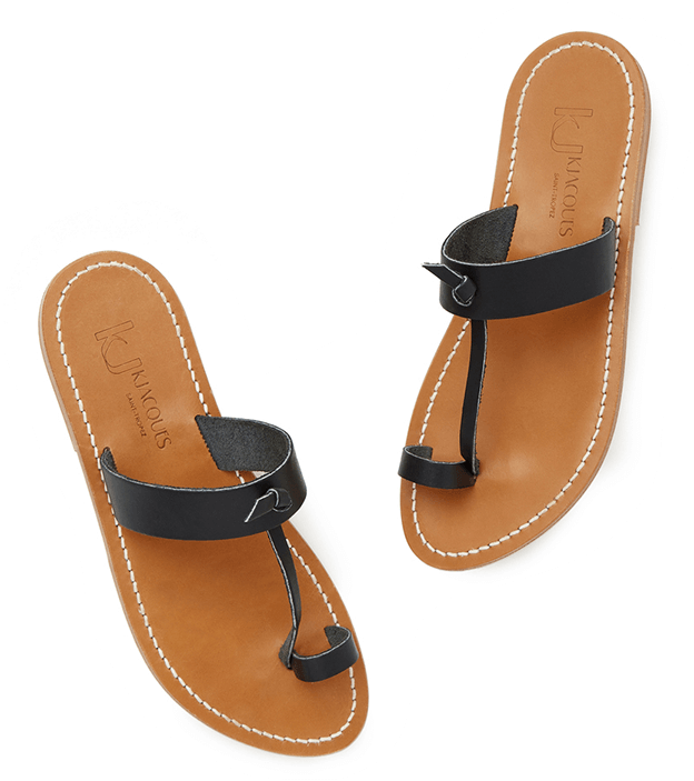 Tan and black sandal with black toe hole