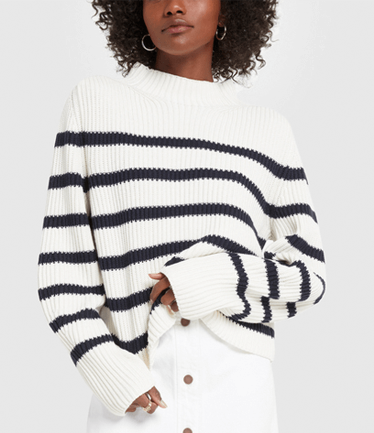 G. Label Lucy Striped Funnel-Neck Sweater and G. Label Robinson Denim A-Line Miniskirt on figure