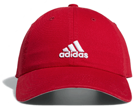Red baseball cap with aidas written in white