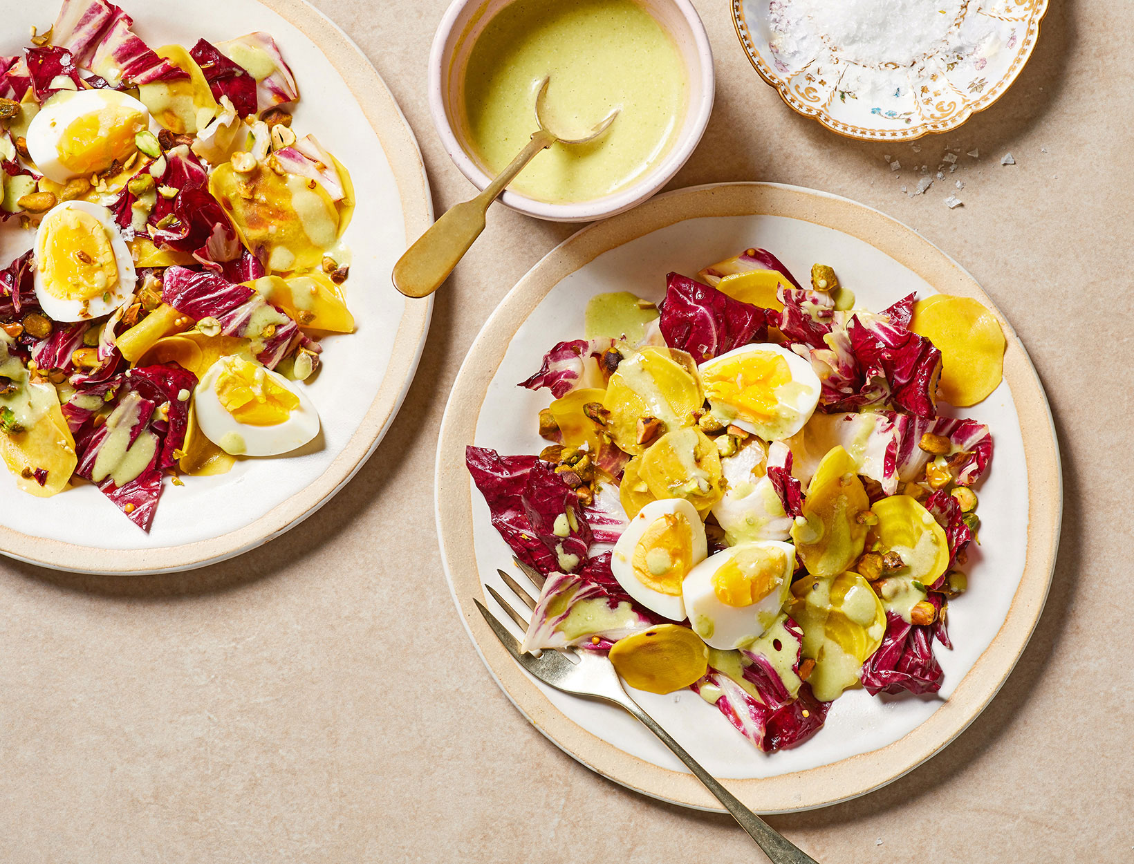 Radicchio and Pickled Beet Salad with Pistachio, Hard-Cooked Egg, and Tarragon Yogurt