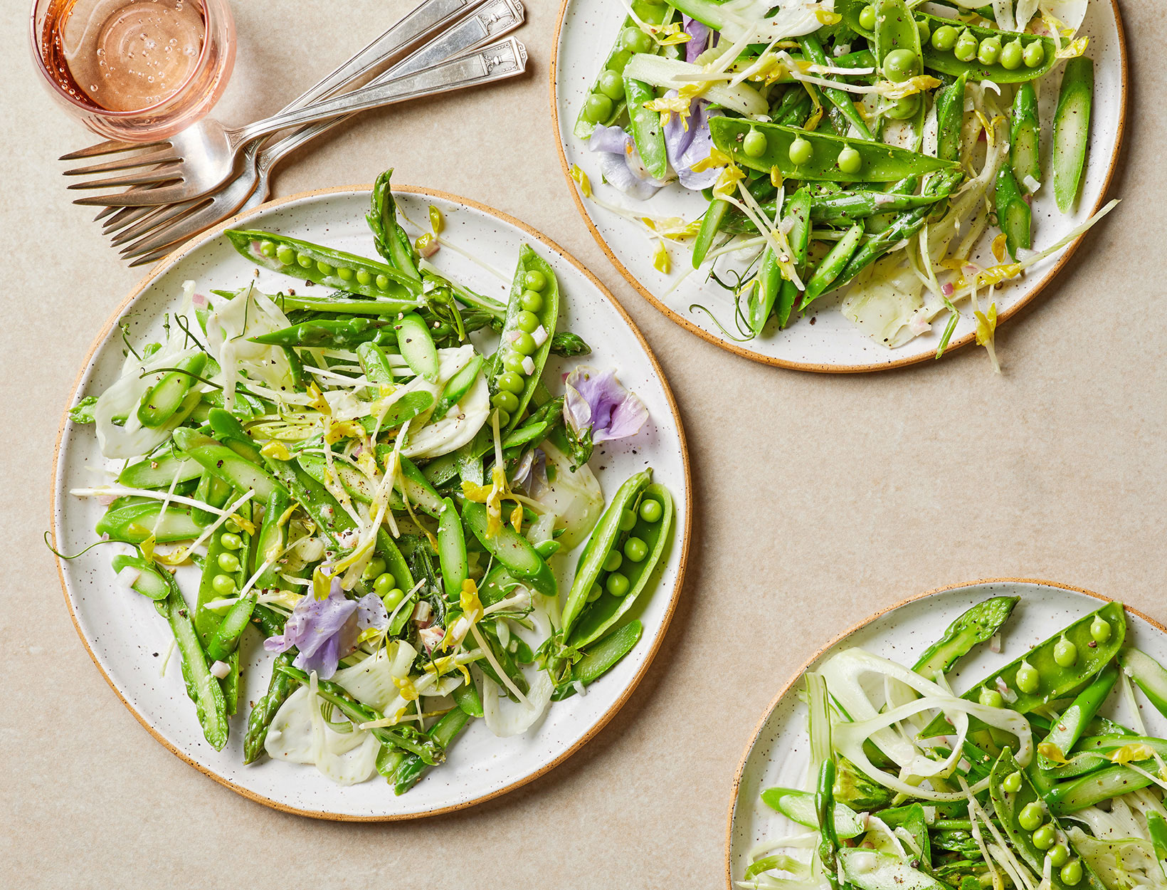 Snap Pea and Asparagus Salad with Horseradish Dressing