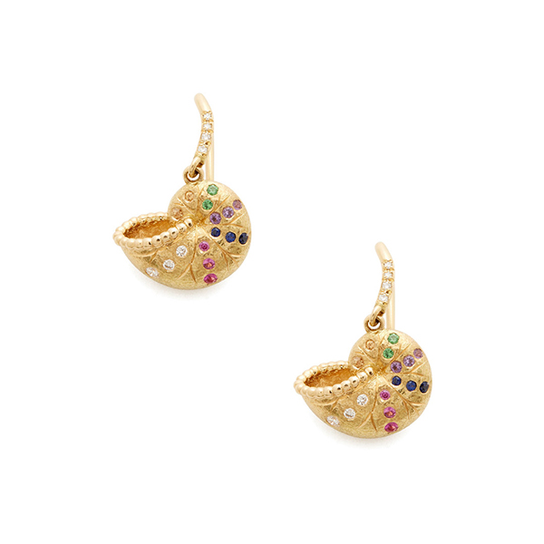 Aurelie Bidermann Nautilus Yellow Gold Multi Mini Earrings