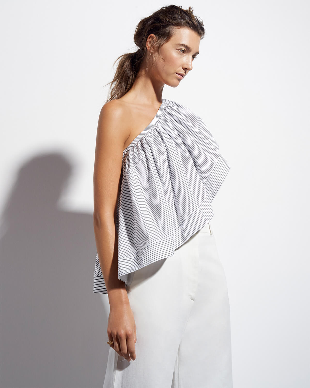 goop x Rosie Assoulin One-Shoulder Top