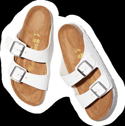 White birkentstock sandals