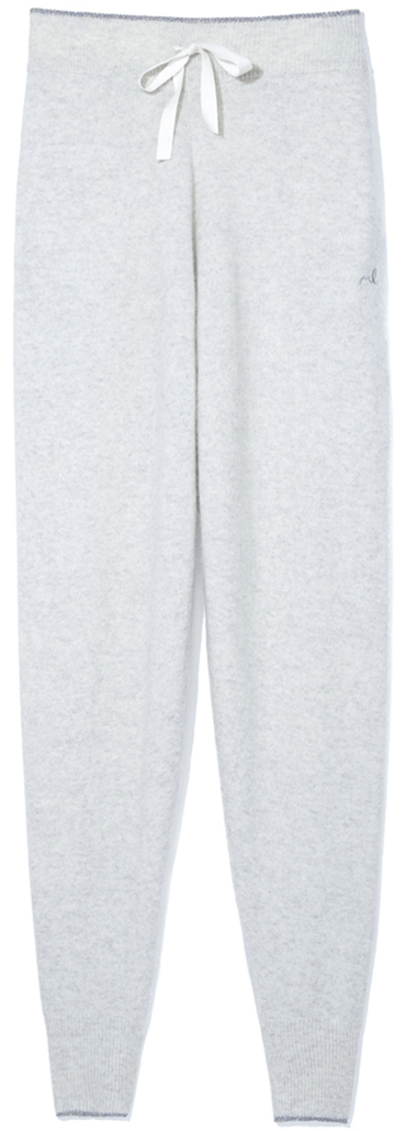 Light grey cashmere sweatpants with white drawstring