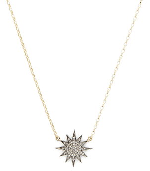 Black diamond starburst necklace