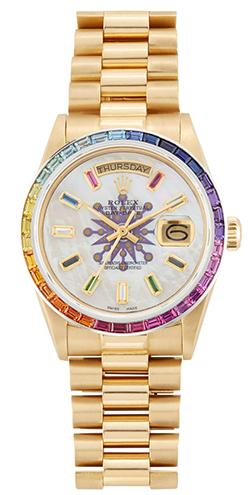 Rolex x Colette 36mm President Baguette Rainbow Rolex Watch