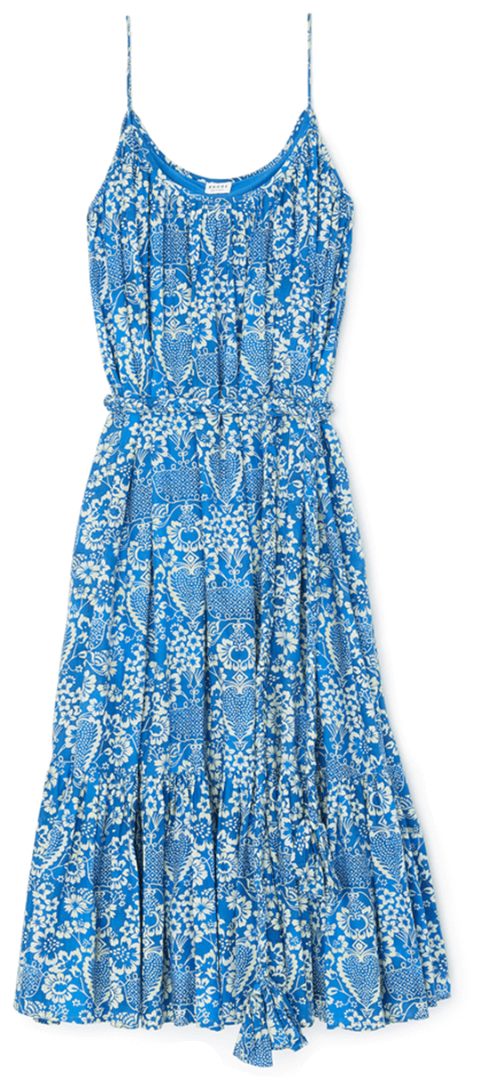 Blue long printed tank dress with rope belt