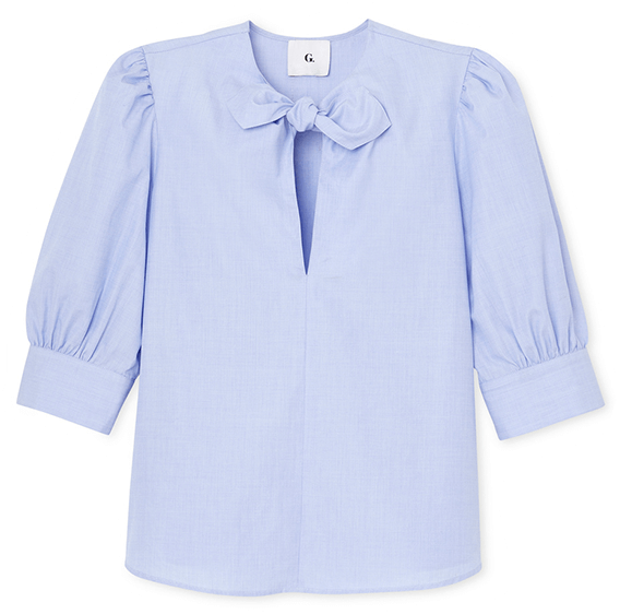 Blue and white striped tie-neck blouse