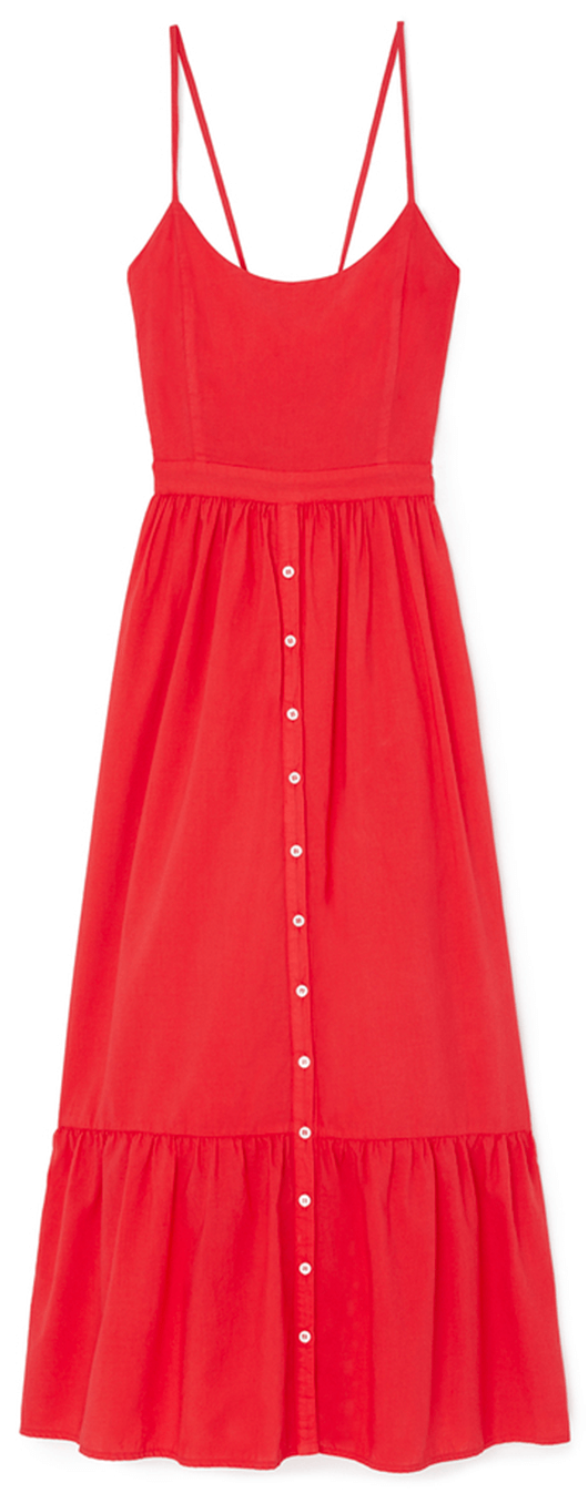 Long red dress with tassles