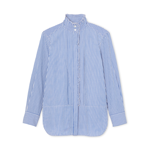 Bessie Pleat-Collar Button-Down Shirt