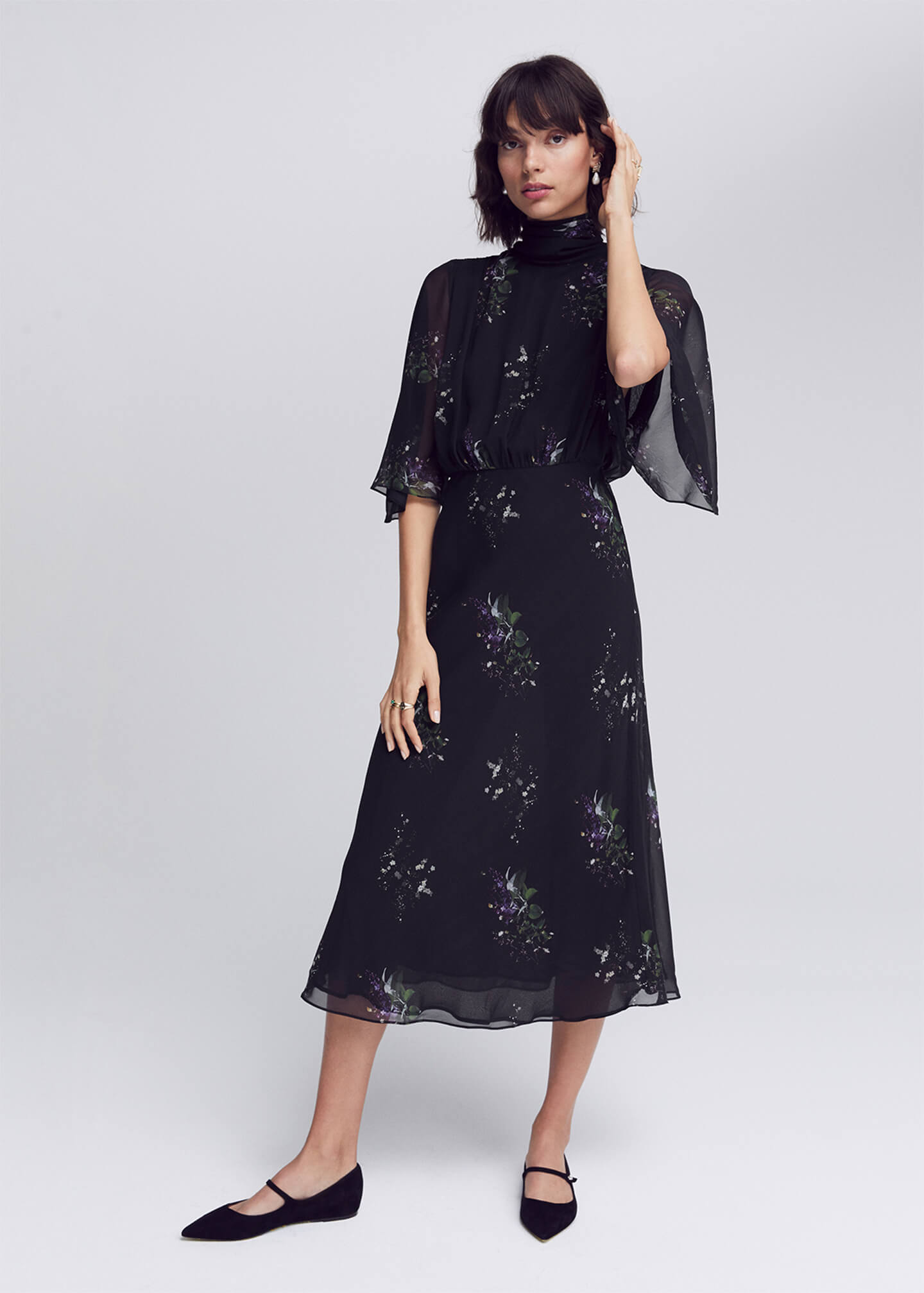 G. Label Mari High-Neck Flutter-Sleeve Mid-Length Dress