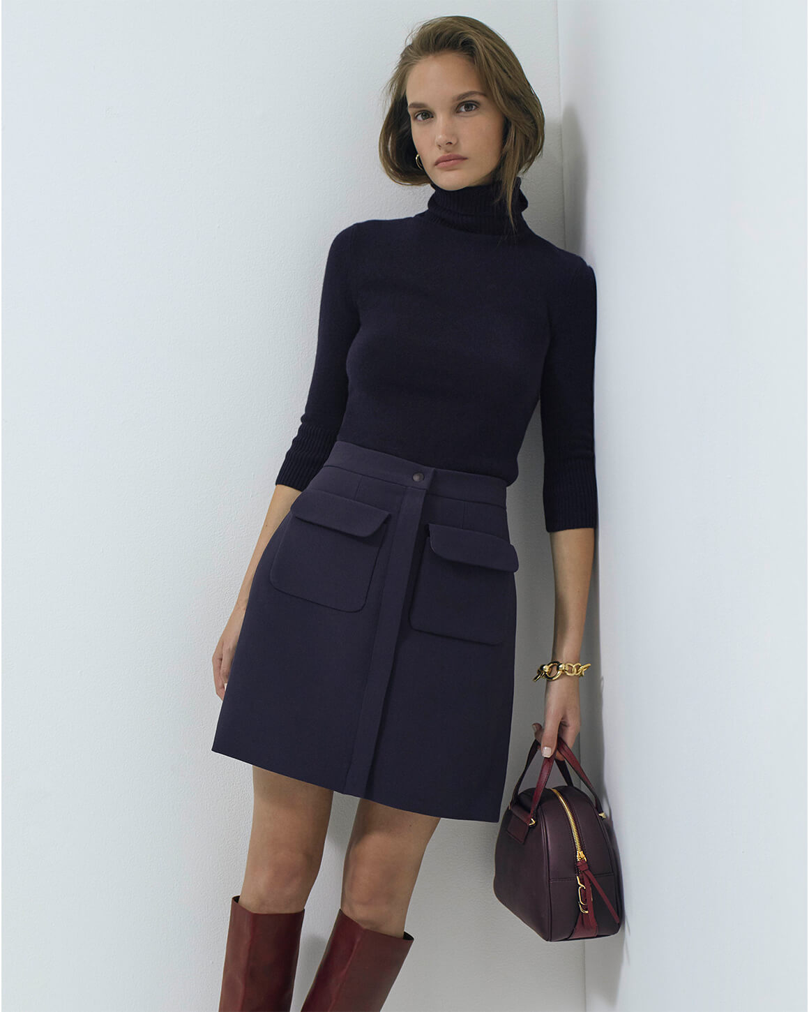 G. Label Midlength Leather Skirt