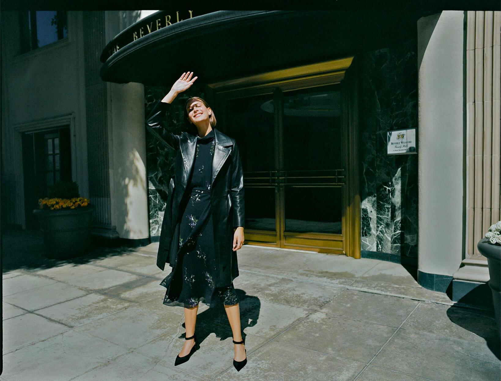 G. Label Mari High-Neck Flutter-Sleeve Mid-Length Dress & AGL Pumps