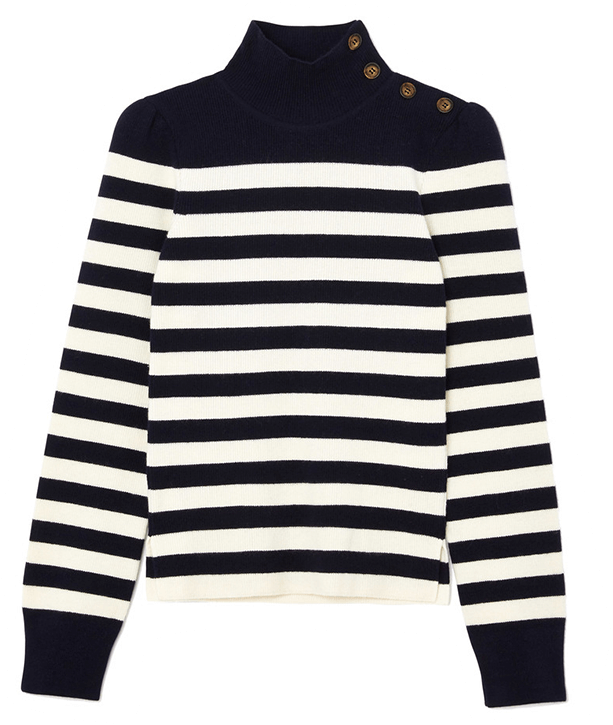 g label lucy striped funnel neck sweater