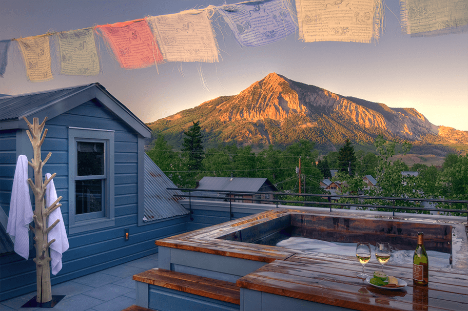 hot tub with mountain view