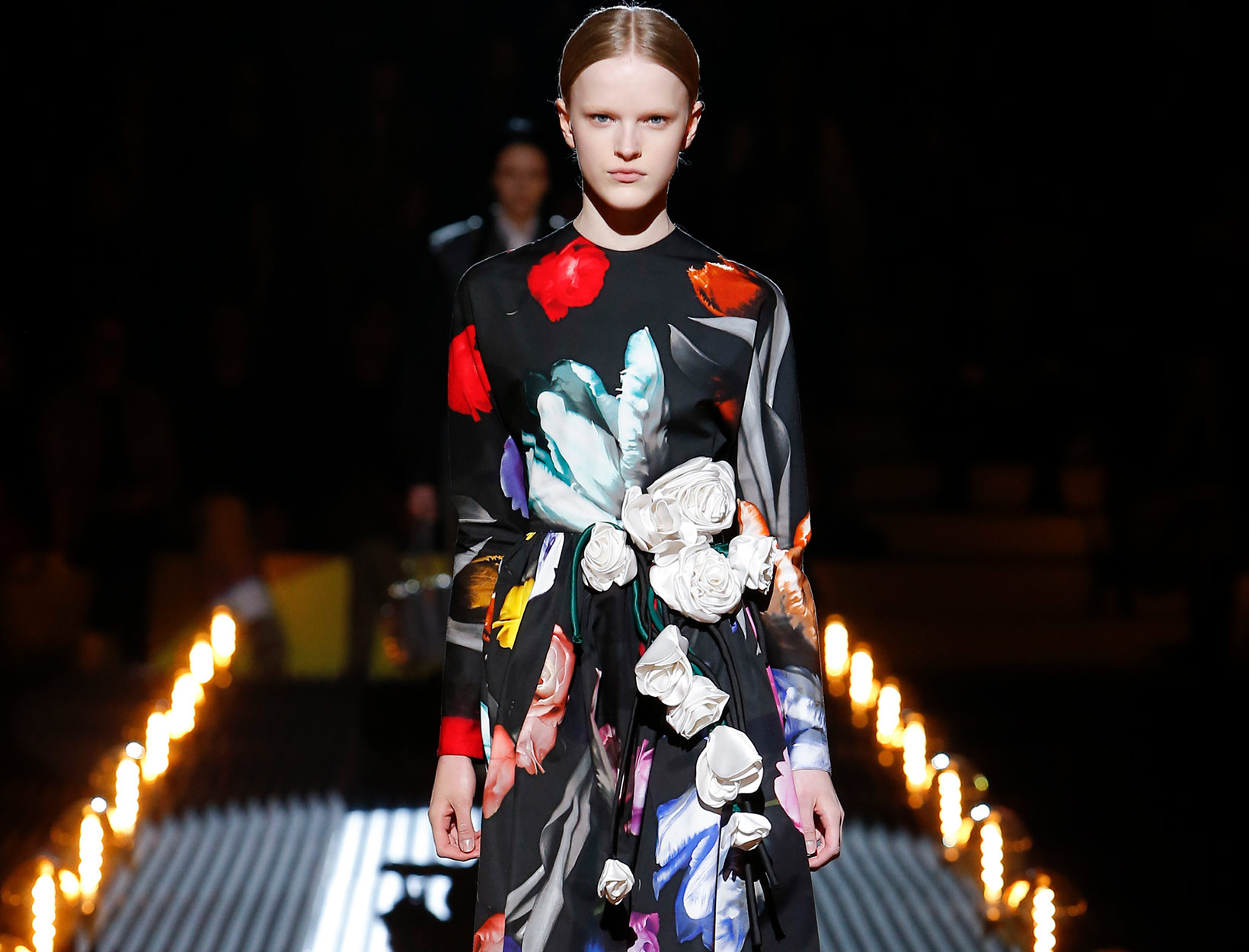 runway model in bold florals