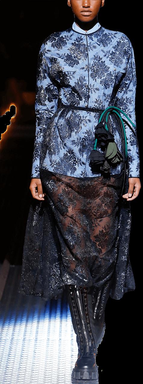 Runway model in lace dress