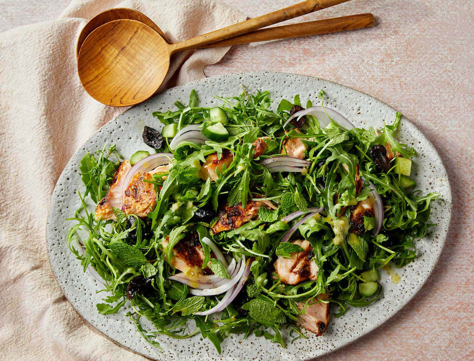 Honey Harissa Salmon Salad