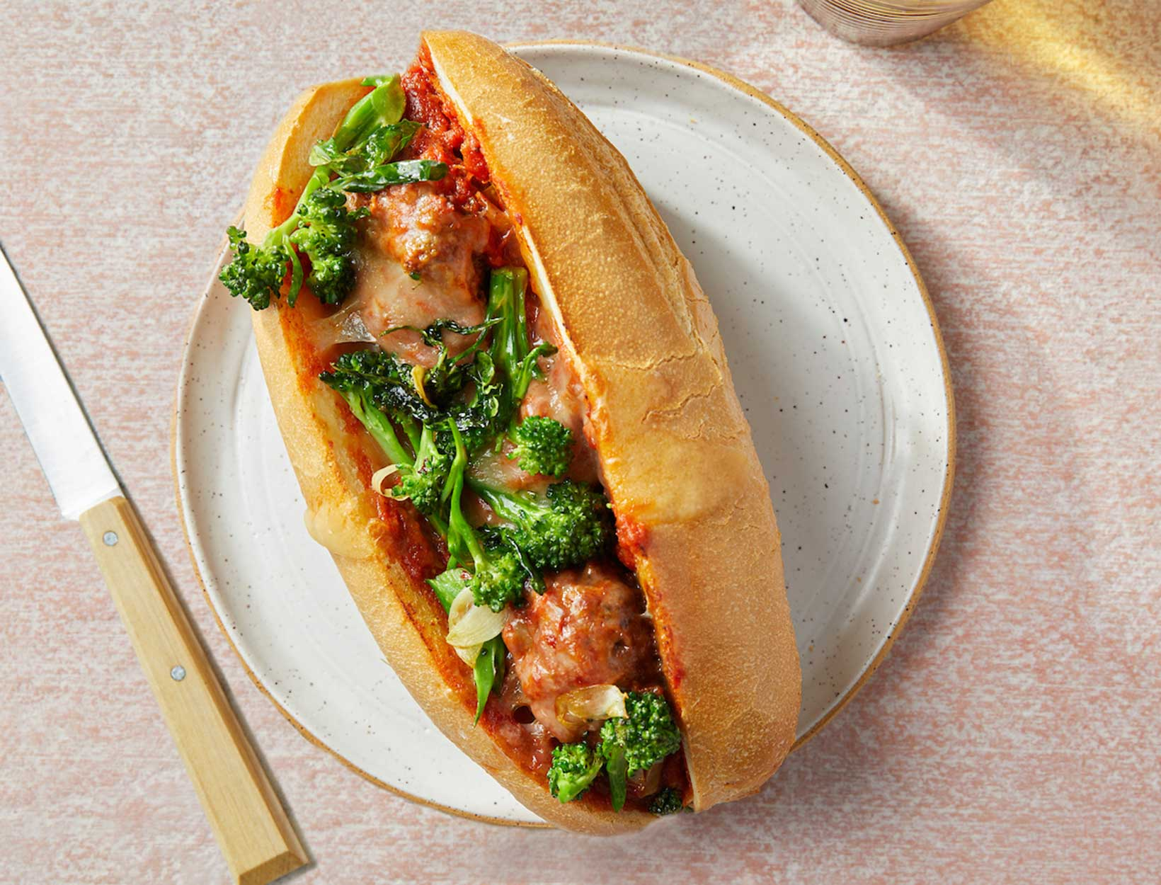 Veggie-Packed Meatball Subs with Garlicky Broccoli Rabe