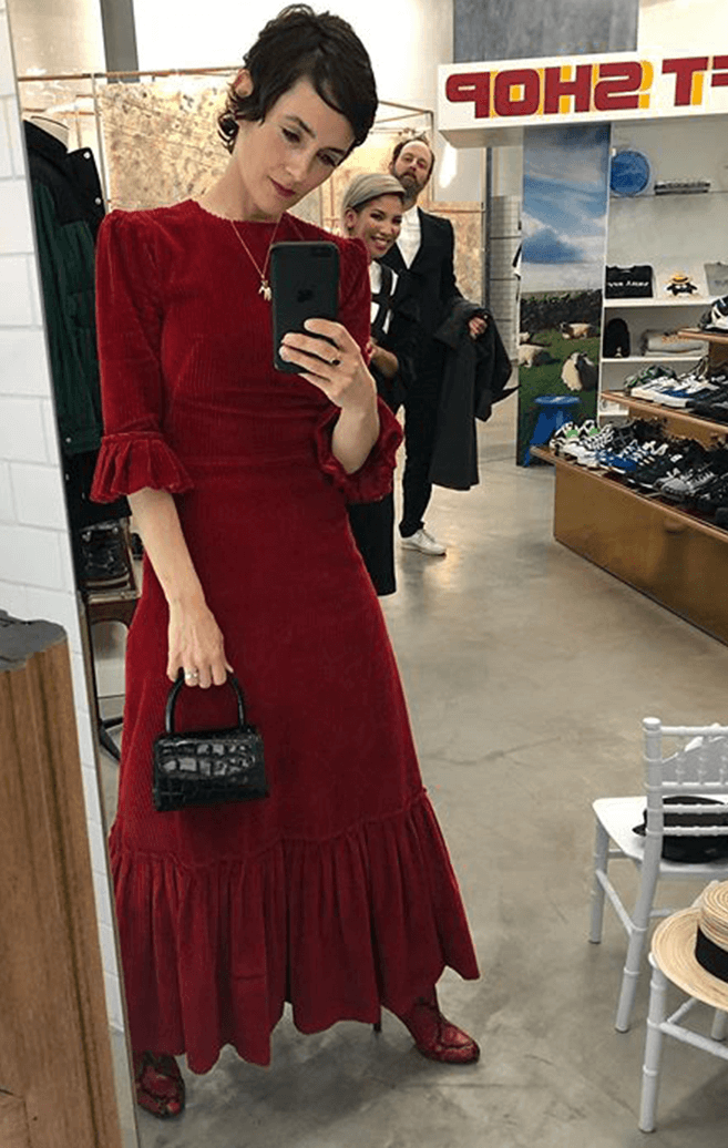 Welch in Red Dress