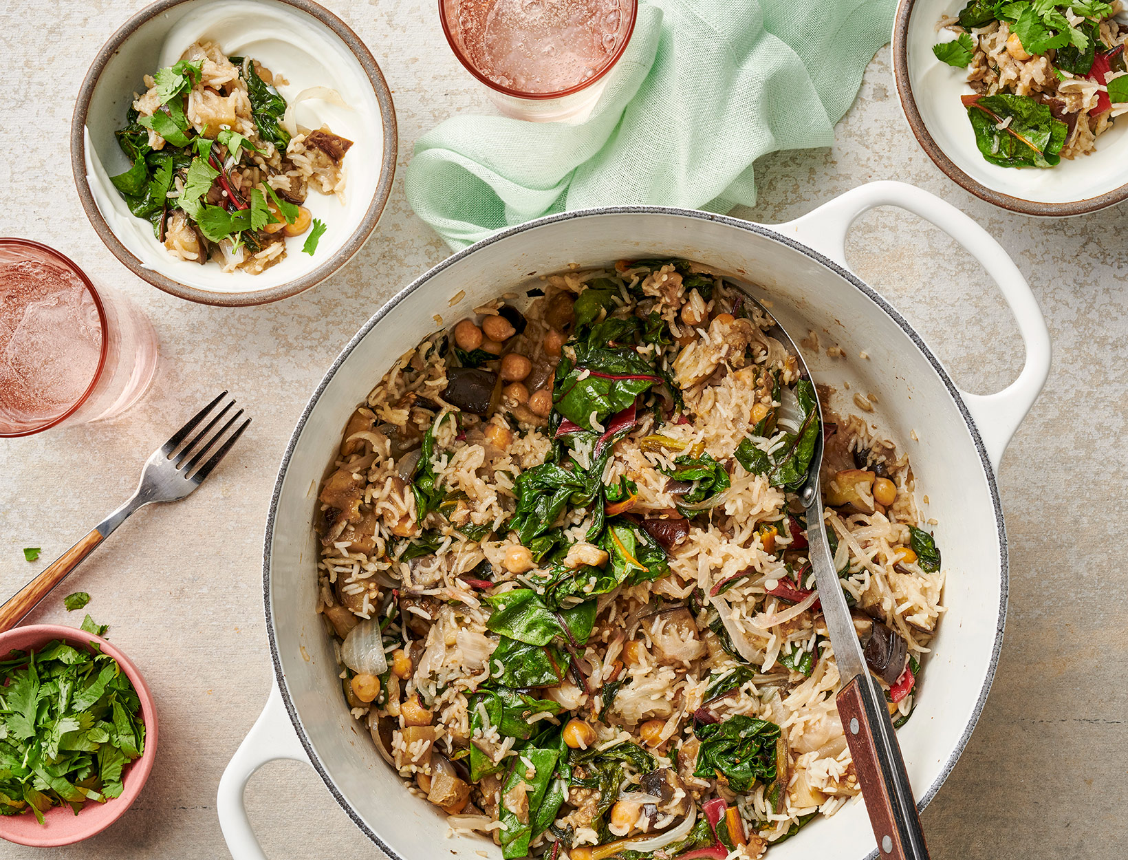 Eggplant and Chickpea Rice with Cilantro and Yogurt