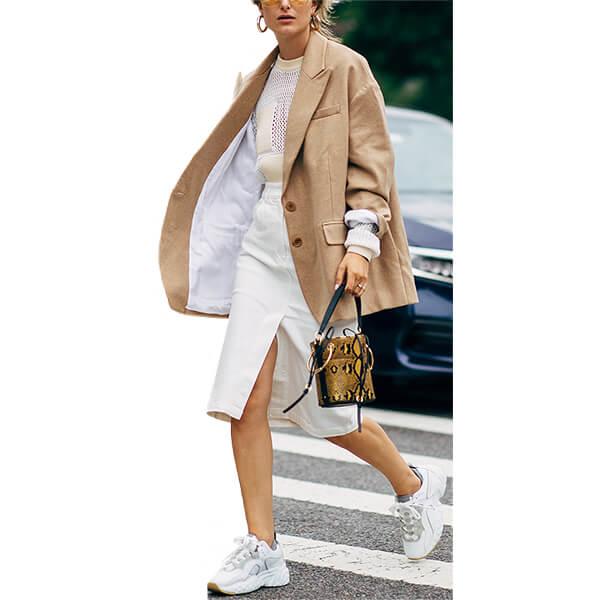 woman wearing oversized jacket