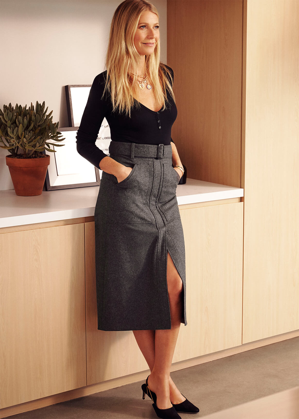 Annika Long-Sleeve Henley Bodysuit and Danielson Midlength Skirt