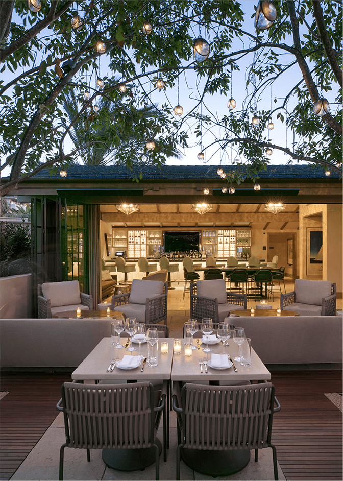 dining table on patio