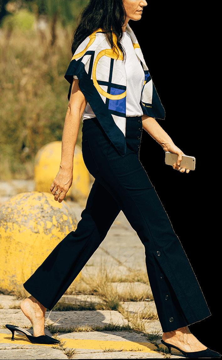 woman wearing bold graphic print