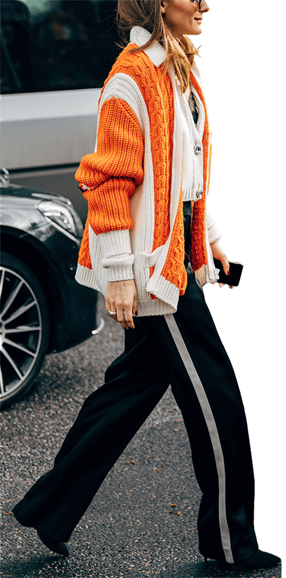 woman wearing cable knit sweater