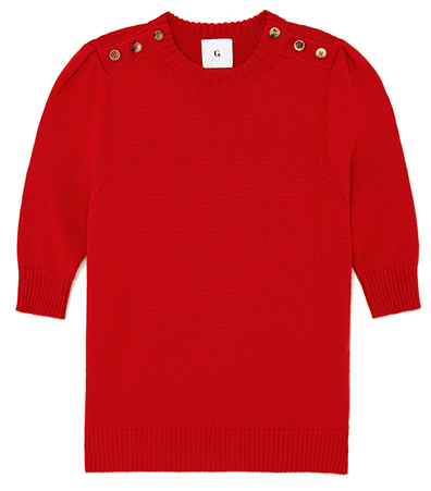 G. Label Churches Button-Down Shoulder SHort Sleeve Sweater