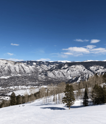 ski hill with mountain view