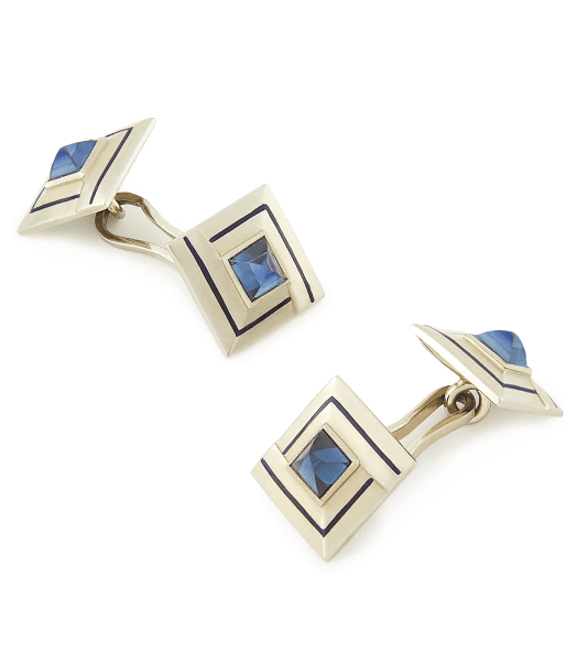 Foundwell Art Deco Sapphire and Enamel Cufflinks