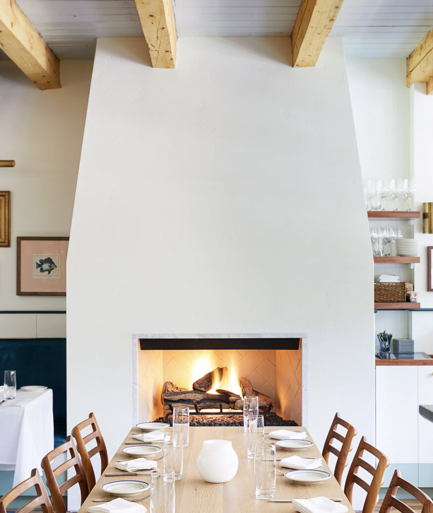 dining table with fireplace
