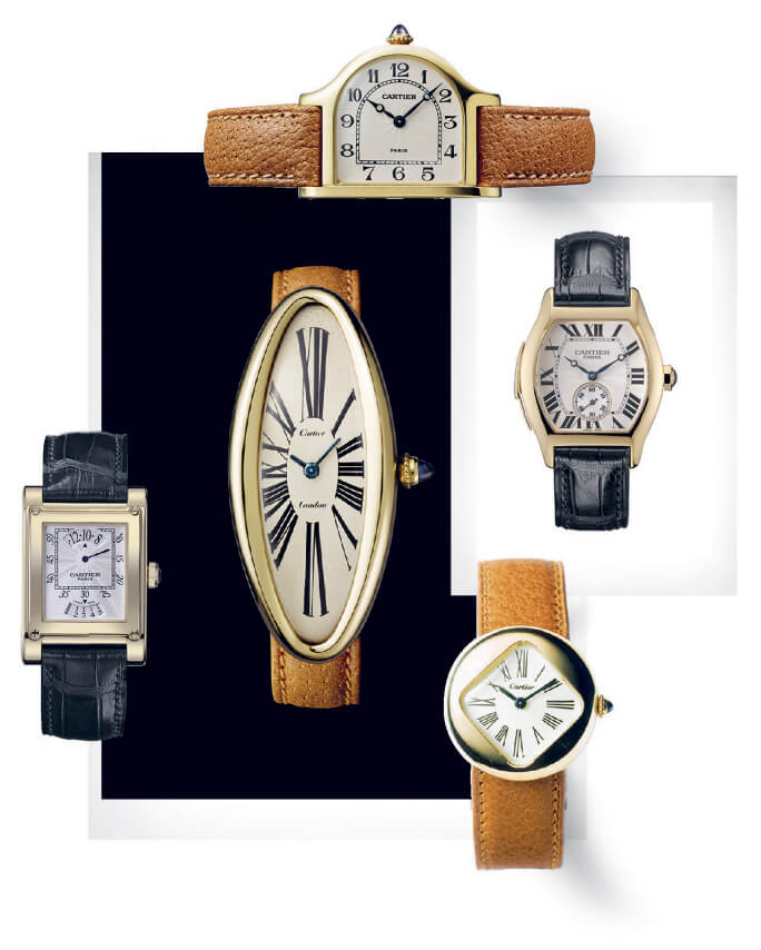 collage of cartier watches