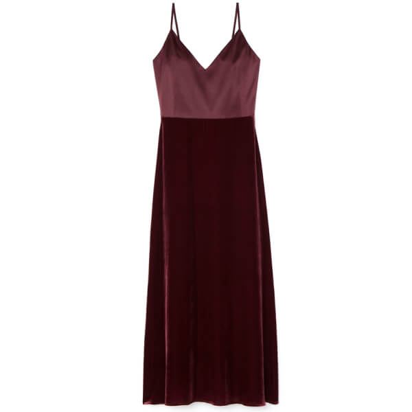g label CHELSEA SATIN AND VELVET slip dress