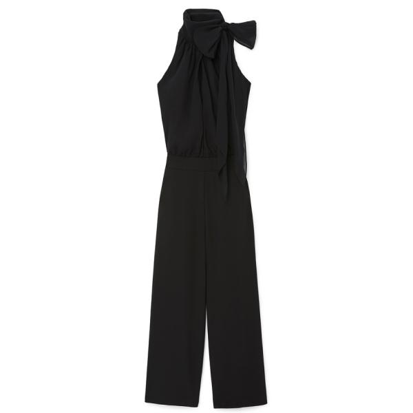 G. Label Hallsy Tie-Neck Halter Jumpsuit