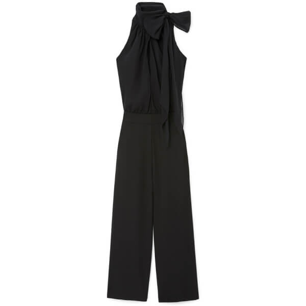 G. Label Hallsy Tie-Neck Halter Jumpsuit
