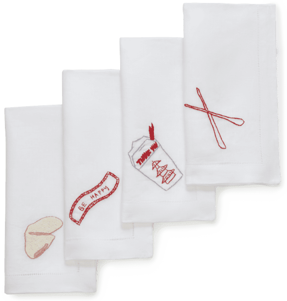 Chefanie Sunday Takeout Dinner Napkins, Set of 4