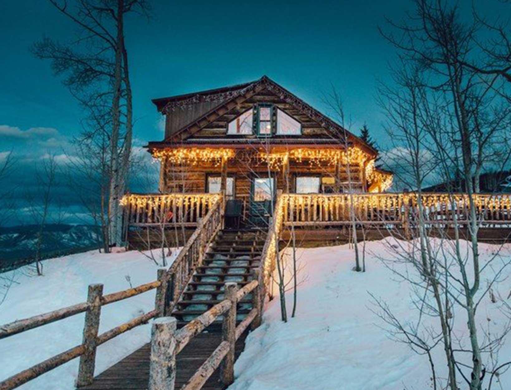 snowy cabin exterior