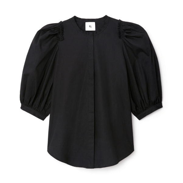 G. Label Tracy Puff-Sleeve Button-Down Shirt