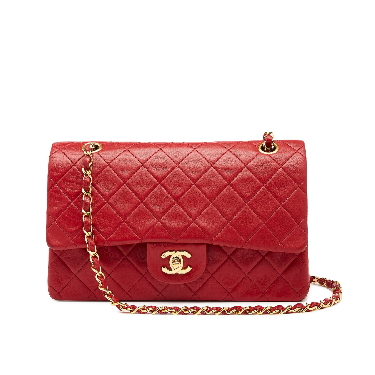 What Goes Around Comes Around Chanel Red Lambskin 2.55 10in