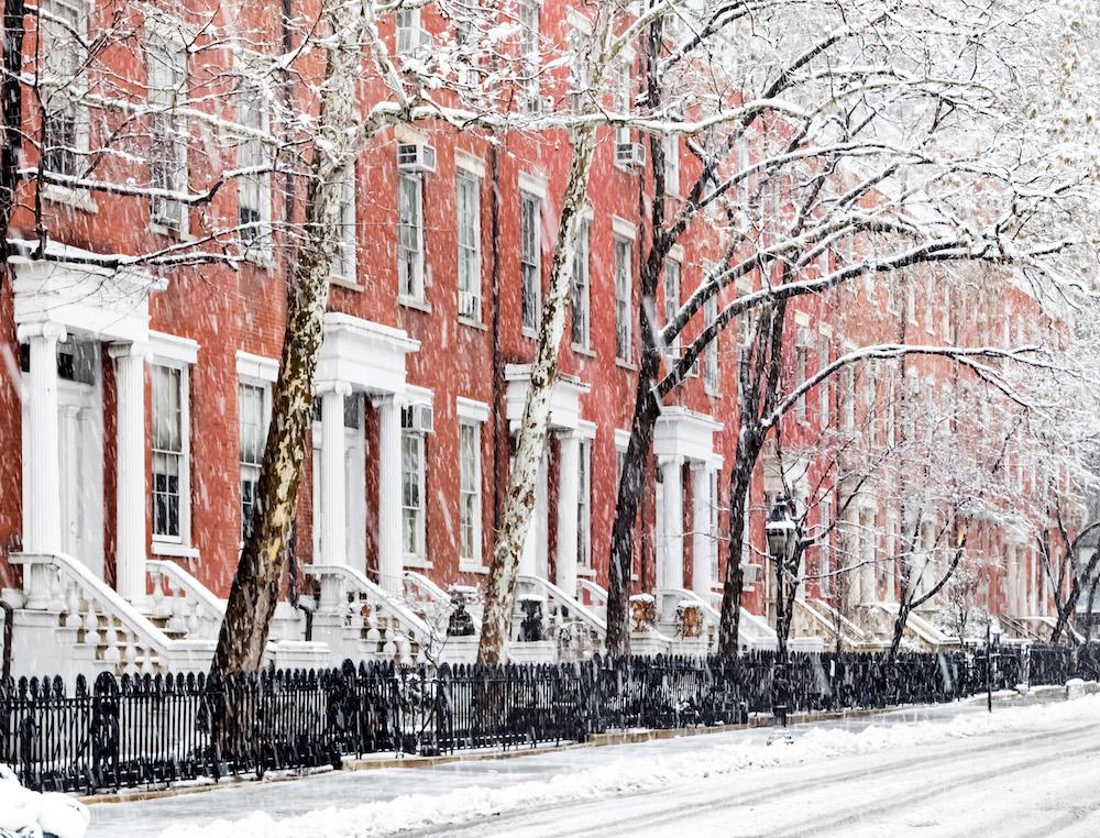 snowy city street