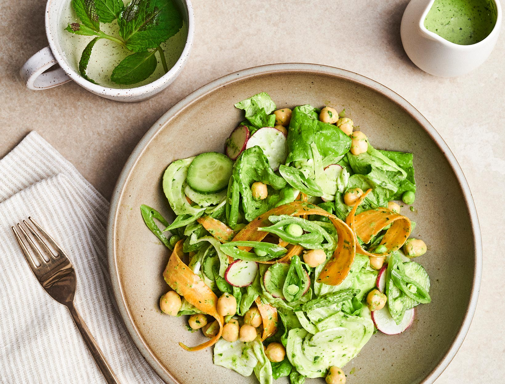 Crunchy Salad with Greener Goddess Dressing