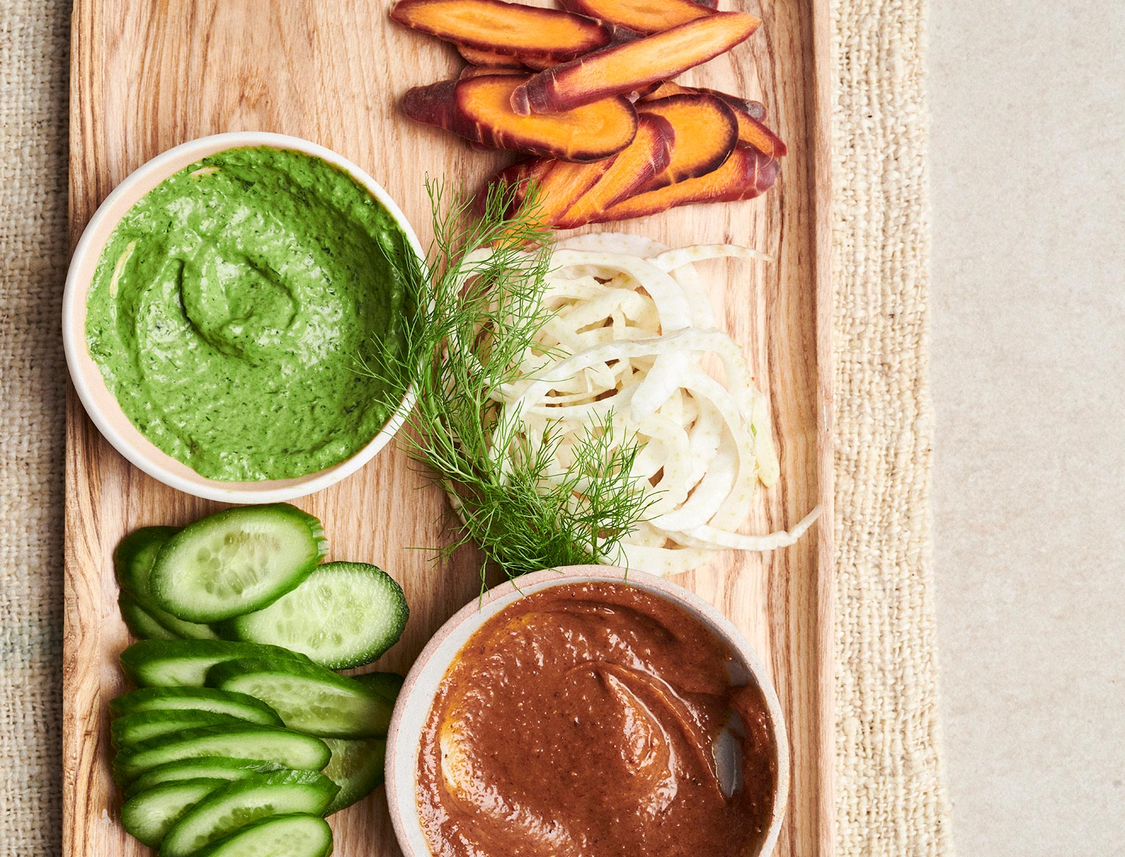 Dip Duo (Red Curry Almond Butter Dip and Greener Goddess Dip)