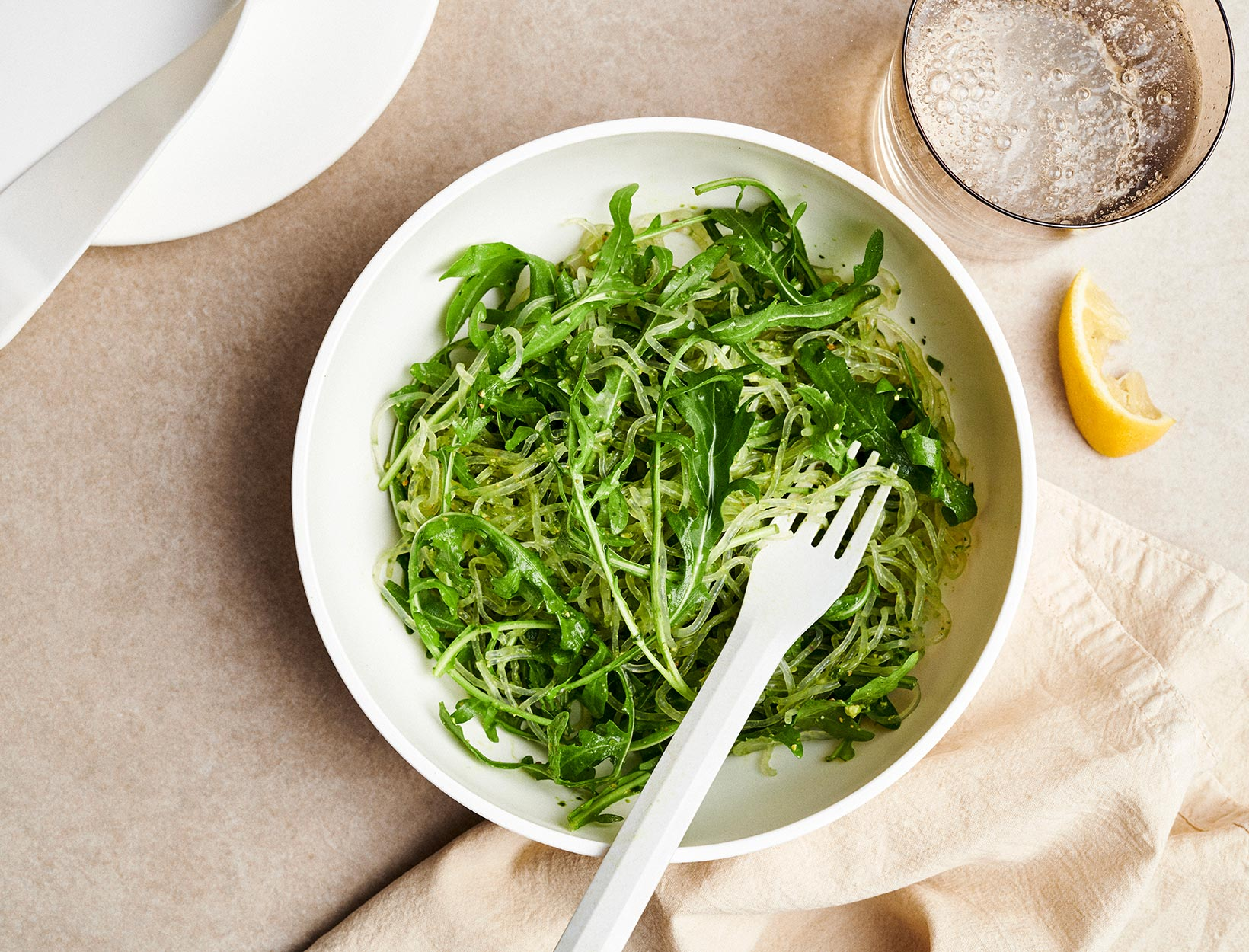 Pesto Kelp Noodle Salad with Arugula