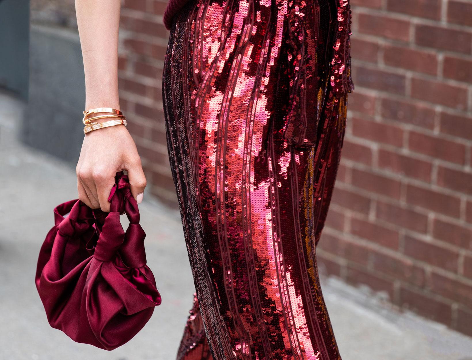 woman in sequin skirt